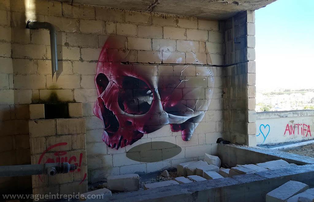 Tag de Crâne au Jerma Palace Hotel Urbex à Malte