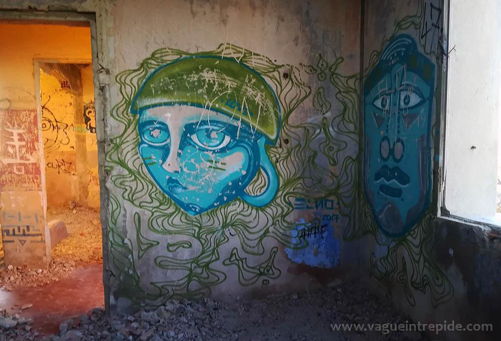 Street Art à Ratonneau, dans une maison en ruine, au Frioul